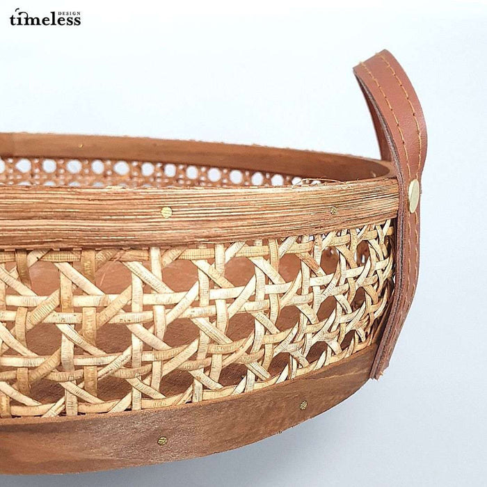 Oriana Round Wicker Tray with Leather Handle (2in1)