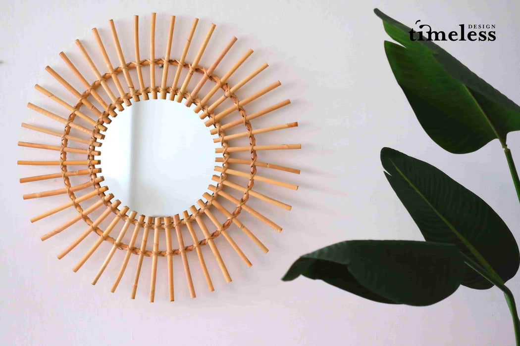 Oriana Sun Wicker Mirror