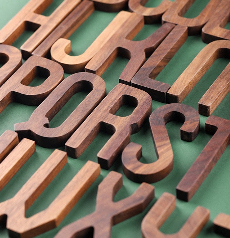 Walnut Wood Alphabet (A-Z) - Timeless Design