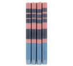 BRITISH COLOUR STANDARD - 25cm / 10'' H Striped Old Rose, Indigo and Pompadour Eco Dinner Candles, Gift Box of 4