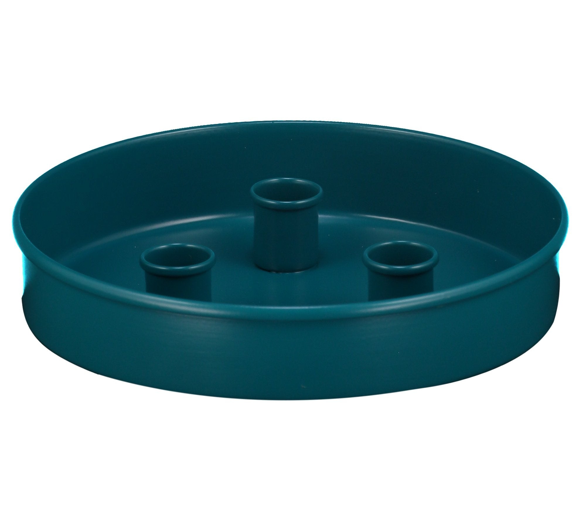 BRITISH COLOUR STANDARD - 20 cm D / 7.8'' D Small Round Metal Candle Platter - Petrol Blue