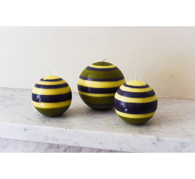 BRITISH COLOUR STANDARD - Small Striped Ball Candle - Olive, Indigo & Jasmine