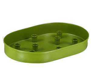 BRITISH COLOUR STANDARD - 37cm x 25cm / 14'' x 9.8'' Oval Metal Candle Platter - Olive