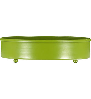 BRITISH COLOUR STANDARD - 20 cm D / 7.8'' D Small Round Metal Candle Platter - Olive Green