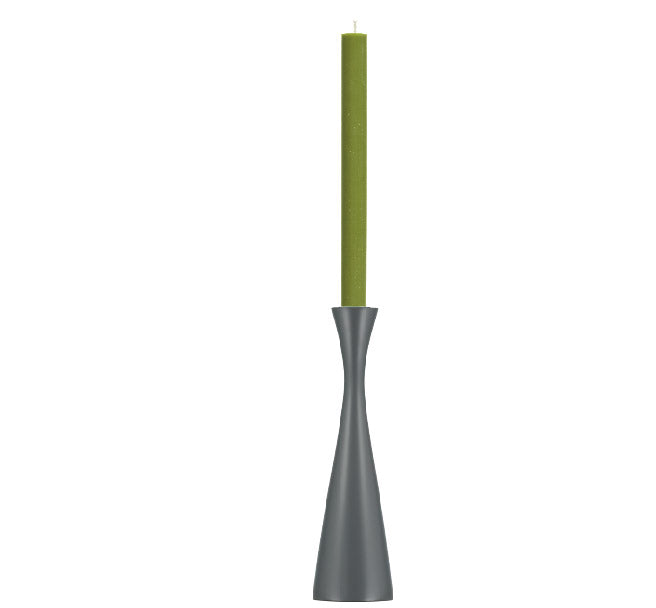 BRITISH COLOUR STANDARD - 25cm H / 9.8'' H  Tall Gunmetal Grey Wooden Candle Holder