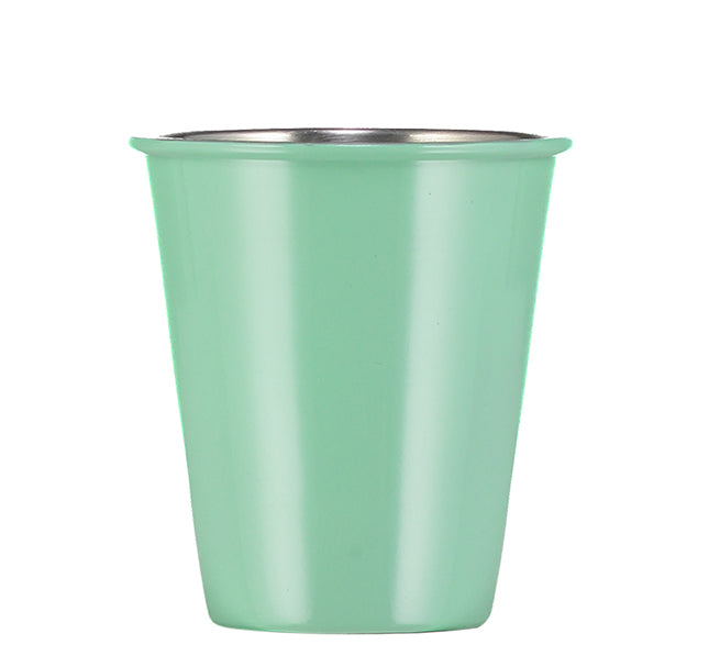BRITISH COLOUR STANDARD - 9.5 cm H / 3.7'' Enamel Tumbler in Porcelain Green, Boxed Set of 4