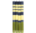 BRITISH COLOUR STANDARD - 25cm / 10'' H Striped Indigo, Jasmine & Olive Eco Dinner Candles, Gift Box of 4