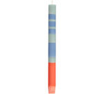 BRITISH COLOUR STANDARD - 25cm / 10'' H Striped Opaline, Pompadour & Rust Eco Dinner Candles, Gift Box of 4