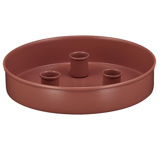 BRITISH COLOUR STANDARD - 20 cm D / 7.8'' D Small Round Metal Candle Platter - Brick