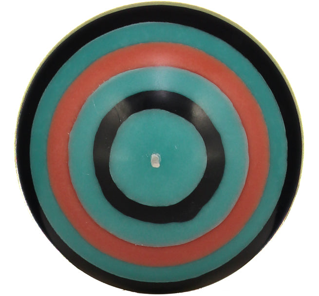 BRITISH COLOUR STANDARD - Large Striped Ball Candle - Honey Bird Blue, Jet Black, Jasmine & Rust