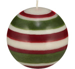 BRITISH COLOUR STANDARD - Large Striped Ball Candle - Guardsman Red, Pearl White & Olive