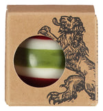 BRITISH COLOUR STANDARD - Small Striped Ball Candle - Guardsman Red, Pearl White & Olive