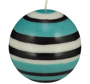 BRITISH COLOUR STANDARD - Large Striped Ball Candle - Jet, Pearl & Honey Bird