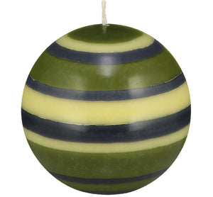 BRITISH COLOUR STANDARD - Large Striped Ball Candle - Olive, Indigo & Jasmine