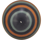 BRITISH COLOUR STANDARD - Large Striped Ball Candle - Marigold, Gunmetal & Opaline