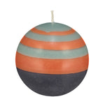 BRITISH COLOUR STANDARD - Small Striped Ball Candle - Marigold, Gunmetal & Opaline
