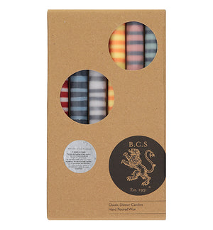 BRITISH COLOUR STANDARD - 25cm / 10'' H BRITISH COLOUR STANDARD - STRIPED Mixed Pack of all 2 Stripes Eco Dinner Candles, Gift Box of 6