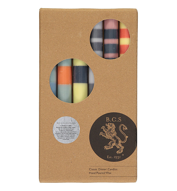BRITISH COLOUR STANDARD - 25cm / 10'' H BRITISH COLOUR STANDARD - STRIPED Mixed Pack of all 3 Stripes Eco Dinner Candles, Gift Box of 6
