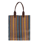 BRITISH COLOUR STANDARD - 40 cm x 44 cm / 15.75'' x 17.3'' Woven Market Shopper in Indian Yellow, Saxe Blue & Rose Beige