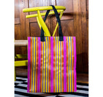 BRITISH COLOUR STANDARD - 40 cm x 44 cm / 15.75'' x 17.3'' Woven Market Shopper in Neyron Rose, Sage & Primrose Yellow