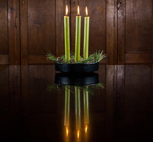 BRITISH COLOUR STANDARD - 25cm / 10'' H Olive Eco Dinner Candles, Gift Box of 6