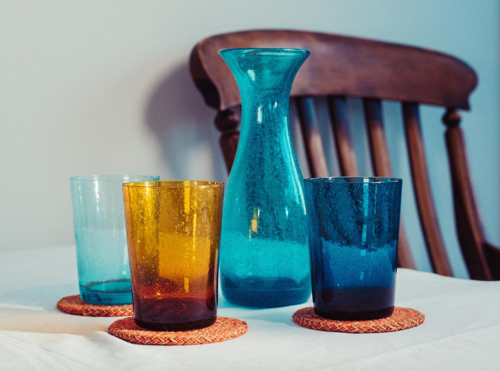 BRITISH COLOUR STANDARD - 11cm H / 4.25'' H French Turquoise Amulet Handmade Glass Tumbler