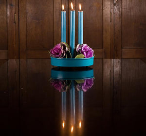 BRITISH COLOUR STANDARD - 25cm / 10'' H Petrol Blue Eco Dinner Candles, Gift Box of 6