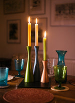 BRITISH COLOUR STANDARD - 25cm H / 9.8'' H  Tall Gull Grey Candleholder
