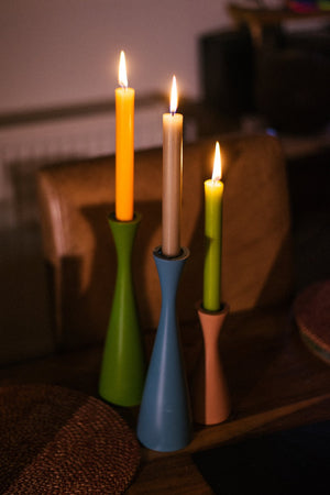 BRITISH COLOUR STANDARD - 25cm H / 9.8'' H  Tall Olive Green Candleholder