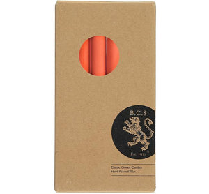 BRITISH COLOUR STANDARD - 25cm / 10'' H Rust Eco Dinner Candles, Gift Box of 6