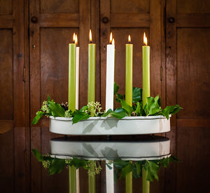 BRITISH COLOUR STANDARD - 37cm x 25cm / 14'' x 9.8'' Oval Metal Candle Platter - Stone White