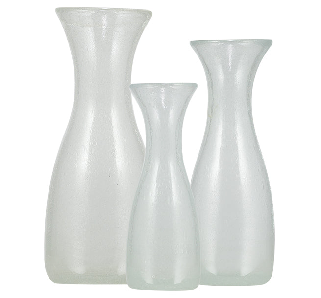 BRITISH COLOUR STANDARD - 26.5cm H / 10.4'' Pearl White Handmade Glass Carafe 1 Litre / 1 Quart