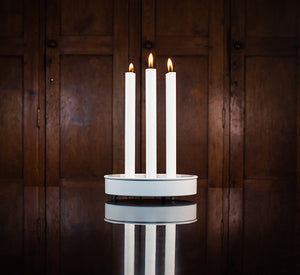 BRITISH COLOUR STANDARD - 20 cm D / 7.8'' D Small Round Metal Candle Platter - Stone White