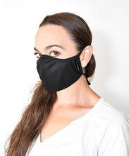 Load image into Gallery viewer, machine washable reusable face mask black ear loops made in Canada