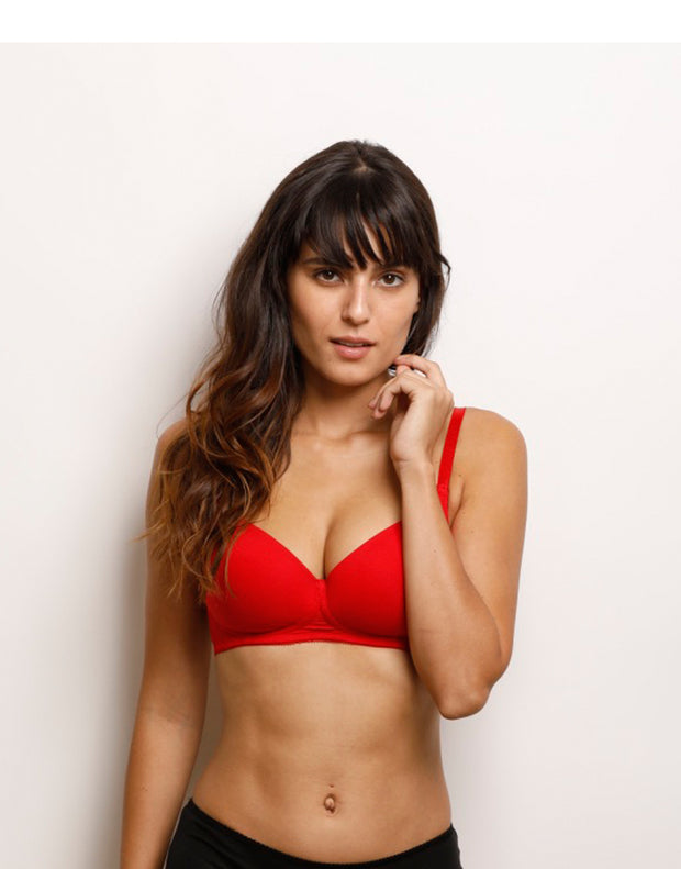 Lightly Padded Non-Wired Smooth t-shirt  Bra-Red