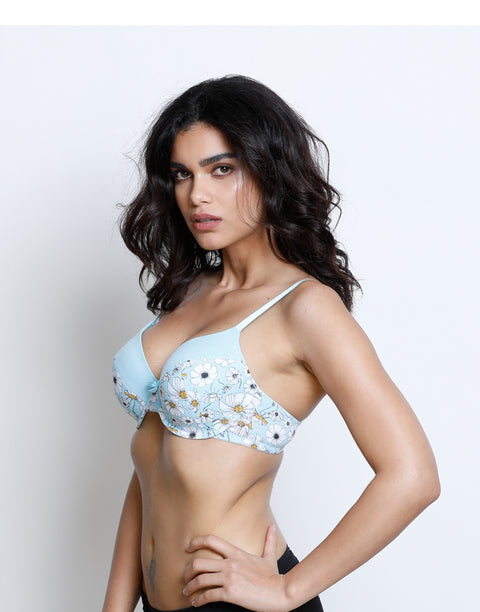 Lightly Padded Wired T-Shirt Bra -Daisy Print