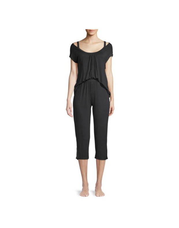 CM 2 PIECE CAPRI PAJAMA SEt (BLACK)