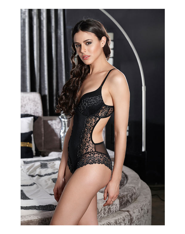 Penny Lace Embellish Backless Level 2 Push Up Wired Teddy-Black