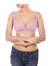 Losha Padded Wirefree T-Shirt Bra-DAWN PINK