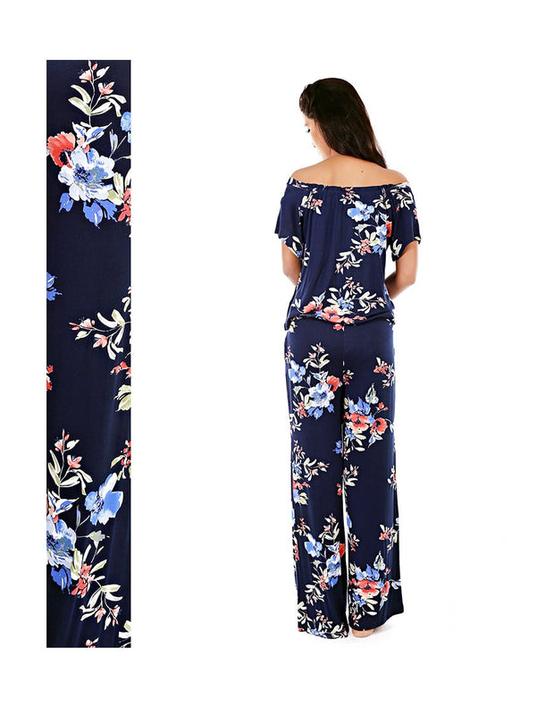 CM FLORAL PRINTED OFF-THE-SHOULDER TEE & PJ SET (NAVY)
