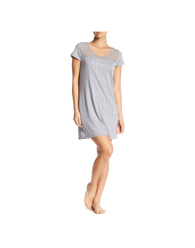 TAHARI POINTELLE KNIT SHORT SLEEVE SLEEP SHIRT-GREY