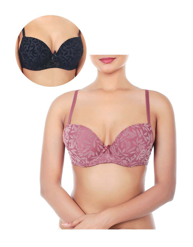 PACK OF 2 SELF FLOCKED MESH PUSH UP BRAS