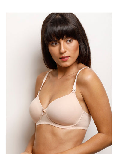 Lighty Padded Multiway Wirefree T-Shirt Bra With Extra Pair of Trasnparent Straps- Skin