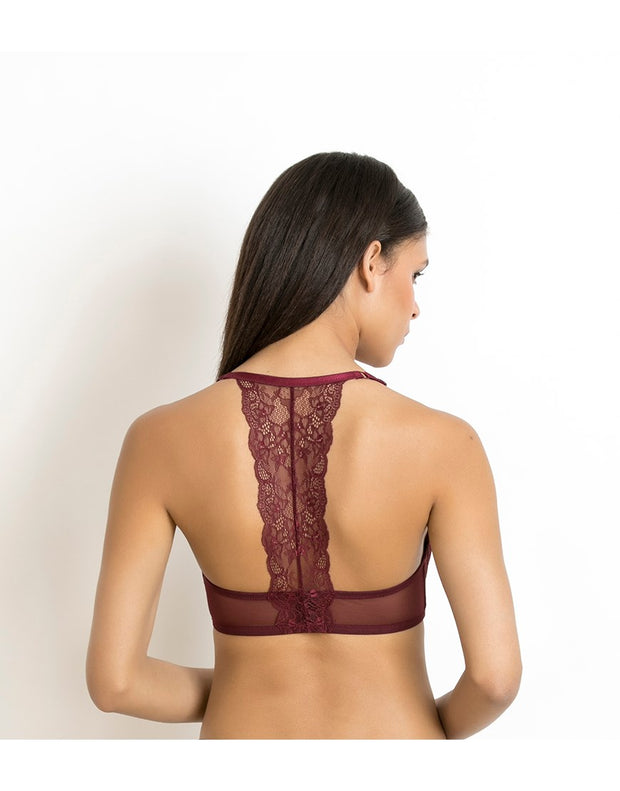 LOSHA LUXE LACE PRETTY BACK WIRED BRA-MAROON