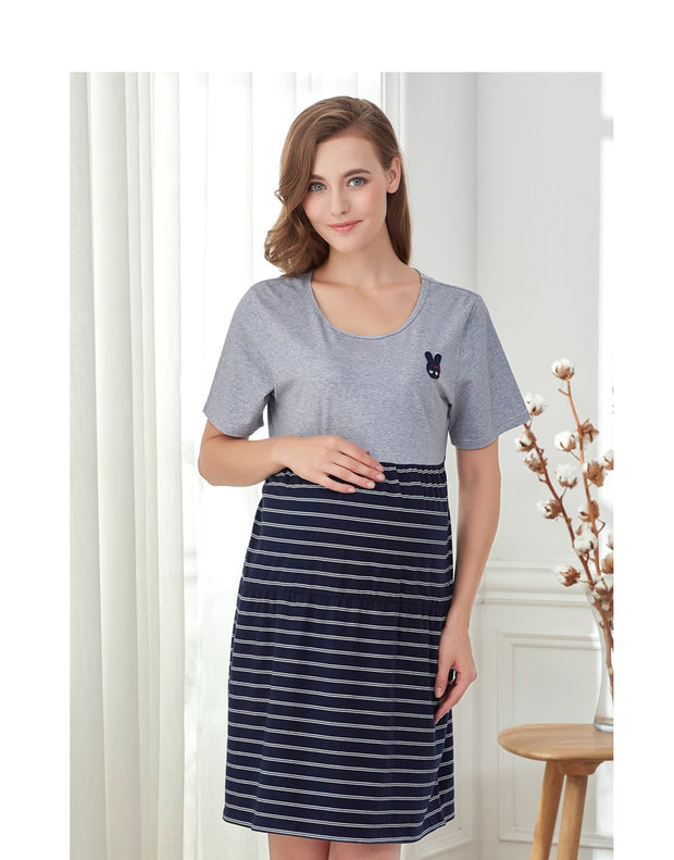 Striped Maternity Sleep Shirt