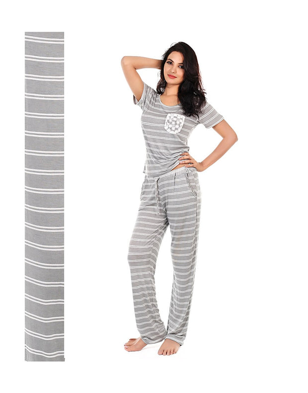 CM STRIPED LACE ACCENT TOP & PJ SET