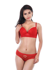 All Over Lace Bra Set-Red