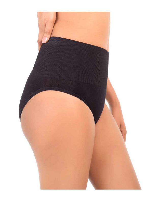 PACK OF TWO SEAMLESS HIGH WAIST SHAPING BRIEF-BLACK/NUDE