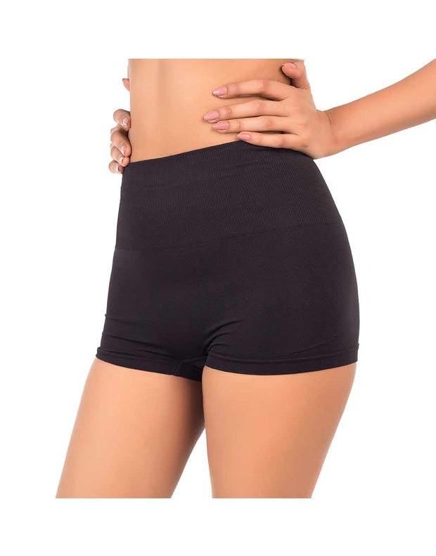 PACK OF TWO SEAMLESS HIGH WAIST SHAPING BOYSHORTS-BLACK/NUDE