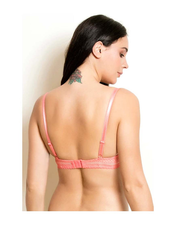 Losha Butter Cups Lightly padded T-Shirt bra with Lace wings-Coral